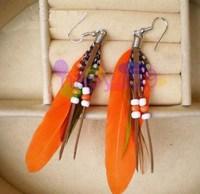 190pair new Western fashion earrings feather bead earring red indian style ear pendants bohemia folk dangler handmade jewelry