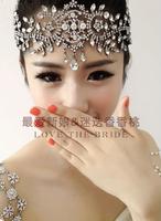 Fashion gorgeous wedding Bride white rhinestone eyebrows tiara bling prom indian forehead jewelry headpieces wholesale