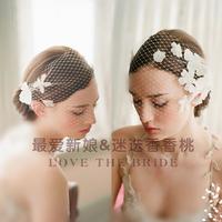 New 2014 classic vintage wedding bridal lace flower veil bride fashion gauze hair accessory wholesales headpieces