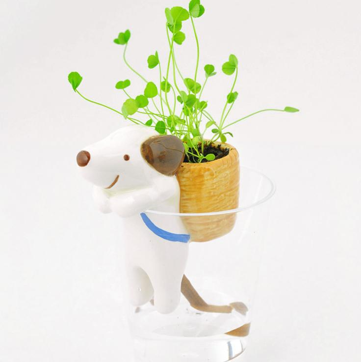 Free Shipping Hot selling Mini Desktop Animal Tail Absorbent Potted Plant Grass Suction Pot (3 pcs/lot)(China (Mainland))