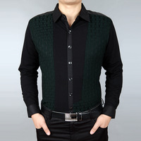 Winter SEPTWOLVES men's clothing thickening long-sleeve shirt male plus velvet casual wool silk shirt