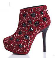 2014 winter and spring new  women's pumps boots ankle design short boots fashion crystal platform high-heeled shoes