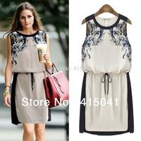 2014 Summer New  European Style Fashion  Casual O-Neck Sleeveless Print  Dress Women Chiffon Dress free shipping