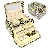 Free shipping 4 layer space luxury Practical leather jewelry box casket necklace pendant jewelry display  Leopard grain gift box