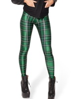 Hot Sale New Arrival Women 2014 Digital Printed milk Faddish Green Tartan Plaid Leggings for Fashion girls'  Fast shipping LS050