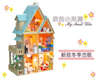 The new DIY doll house furniture large building model ,blue style Four Seasons Love Song wooden dollhouse,with light