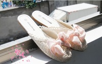 Baotou sandals 2014 new hollow lace chiffon bow tendon at the end of cloth slippers women free shipping