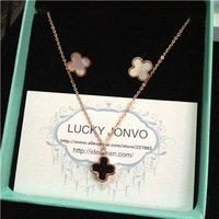 New Spring rose gold plated Titanium lucky four leaves pendant necklace earrings jewellry set best lucky gifts