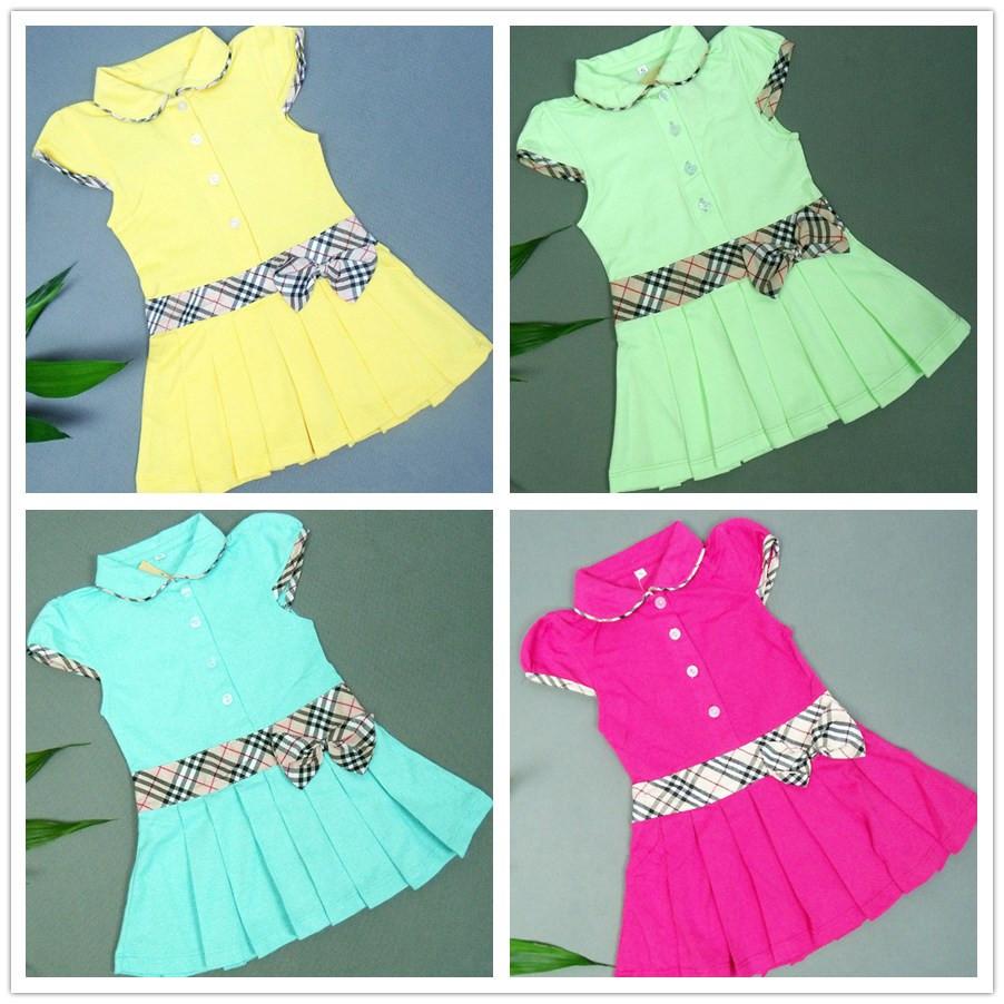 Платье для девочек summer baby dresses brand sport princess pleated tennis dress infant classic British plaid kids clothes 100% cotton 18 24M