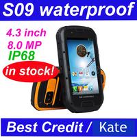 "Free shipping S09 MTK6589 4.3"" Android 4.2 smartphone IP68 Dustproof Shockproof Waterproof Dual SIM GPS Russian Spanish/Kate"