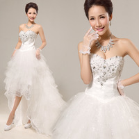 Princess bride low-high train wedding dress formal dress 2013 maternity plus size