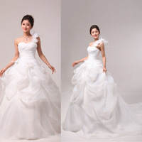 2013 big train princess one shoulder plus size maternity wedding dress slim