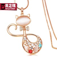 Small fox long necklace fashion sweater design crystal decoration necklace female accessories