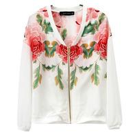 2013 big fashion flower print casual outerwear jacket sun protection clothing female zipper baseball uniform