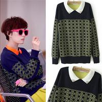 2013 dot pattern peter pan turn-down collar long-sleeve pullover sweater female