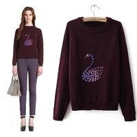 Fashion handmade diamond 2013 beading basic sweater pullover sweater 1133032360