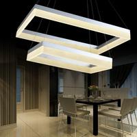 Led pendant light rectangle living room lights brief modern bedroom lamps lighting