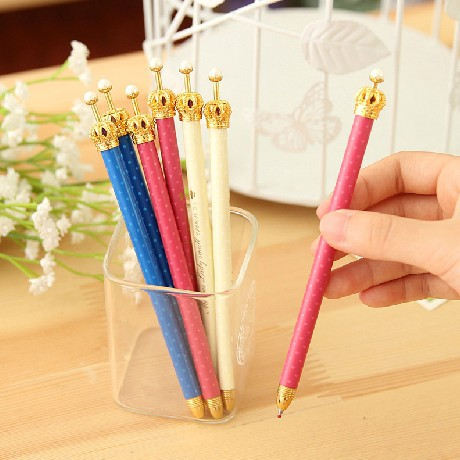 30 pcs/lot Kwaii Cartoon Gel Pen Metal Cute Crown Pens School Supplies Korean Stationery Wholesale Free shipping 1104(China (Mainland))