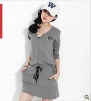 korean casual long sleeves maternity dress  plus size sport skirt for pregnant free ship