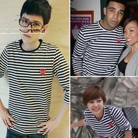 Red stripe 2013 play cdg long-sleeve T-shirt black and white stripe o-neck long t-shirt
