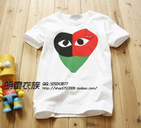 Cdg play three-color male Women basic shirt 100% cotton lovers high quality