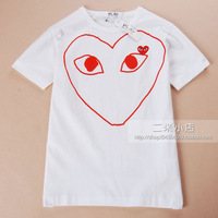 Comme des garcons cdg play white red hollow Men cotton short-sleeve T-shirt