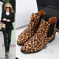 free shipping women shoes Leather leopard horse hair short boots fashion 2013
