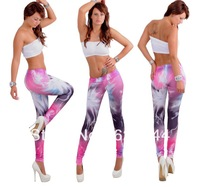Fashion Pink Lightning Galaxy Rainbow Printed Pants Leggings Free Shipping @BS072