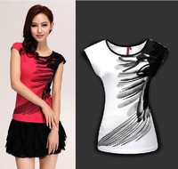 2014 sweet princess t-shirts stereo feathers ink printing plus-size cultivate one's morality short sleeve T-shirt