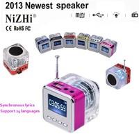Synchronous lyrics NiZHI Digital voice display Portable Mini Radio Music MP3/4 Player SD/TF USB Speaker FM Radio LCD Handfree