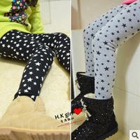 Velvet legging child slim all-match trousers plus velvet thickening