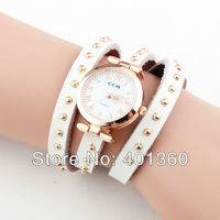 2014 New Women's Punk Style Golden Wrap Leather Band Quartz Analog Wrist Watch (Assorted Colors)