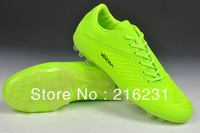 2014 men athletic shoes HyperVenomr soccer shoes Nubuck Leather AG Transparent PC soles football shoes  light green size 39-45