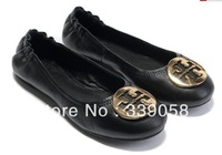 2014 Hot's new Women's Metal buckle Flat shoes ballet shoes 100% genuine leather shoes With Box Large size 35-41 free shipping