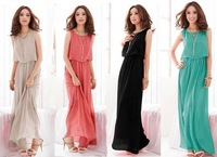 2014 fashion elegant women chiffon full dress bohemia romantic beach one-piece dress/4 color, free shipping