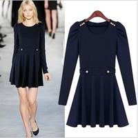 Winter-Autumn European and American Fashion Women Knitting Dress Long Sleeve O-Neck Slim Waist Dress Ladies 9814