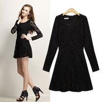 Lace Dress With Waistband Slim Waist Cute and Elegant Dress Long Sleeve O-Neck Black White 9845