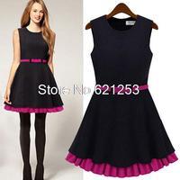 Women's Double Falbala Dresses Sleeveless O-Neck Mini Vestidos Party Dress Fashion Elegant Dress With Belt 9828