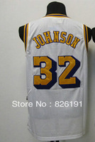 Free shipping Los Angeles #32 Magic Johnson jersey, Embroidery logos men's cheap basketball jerseys,Size44-56.