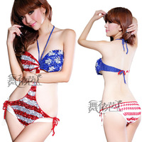 Knitted paillette bikini swimwear performance wear sexy modern dance