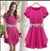 Summer Chiffon Pleated Dress Short Sleeve O-Neck Cute Slim Dress With Belt Female 9808