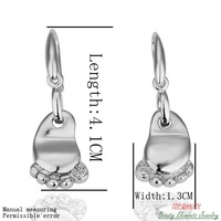 Real 18K White Platinum Gold Plated Footprint Drop Dangle Earrings Jewelry, Made With Swarovski Austrian Rhinestone Crystal E049