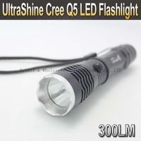 UltraShine CREE Q5 300 Lumens 3-Mode LED Flashlight Torch + 2*4000mah battery+1*charger