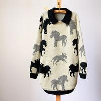 2014 Loose medium-long fur knit pullover sweater turn down collar block horse women winter sweater female , Free Shipping  T261