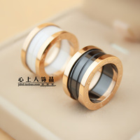 Rose gold black and white ceramic ring titanium 18k color gold lovers ring finger ring