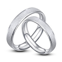 Silver sand inlaying 925 pure silver lovers ring fashion finger ring male women's scrub ring