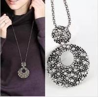 Vintage tibetan silver circle accessories necklace female long design pendant necklace hangings