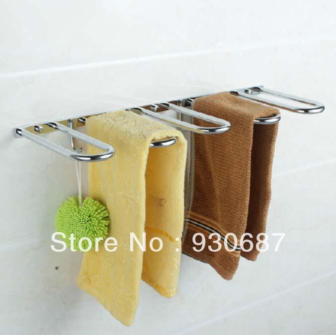 Modern Creative 60CM Chrome Soild Brass Bathroom Storage Shelf Wall Mount Towel Racks With Clothes Hook(China (Mainland))