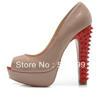 2014 Fashion Women Nude Patent Leather High Heels Sexy Female Peep Toe Platform Pumps Block Heels Rivets Shoes 35-41