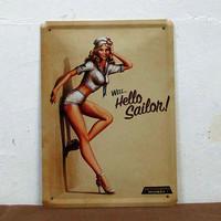 15*21CM Retro Signs WELL Hello Sailon Sexy Girls MIDWAY Tin Sign Wall Decor Pub Bar Metal Poster